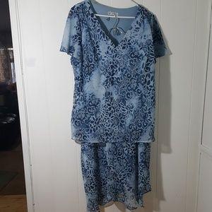 💚 Floral Blues Skirt & Blouse Set